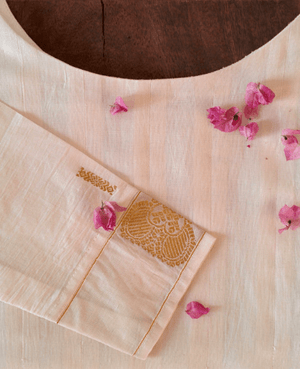 White and Gold Pleated Kasavu Saree Dress - Mogra Designs