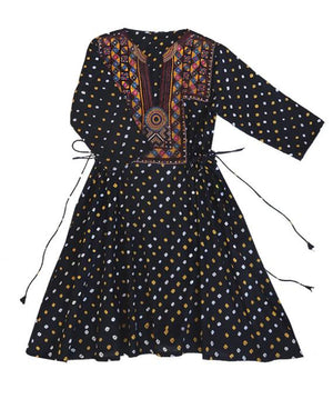 Handcrafted Vintage Mirror Work Drawstring Kaftan in Black Bandhani - Mogra Designs