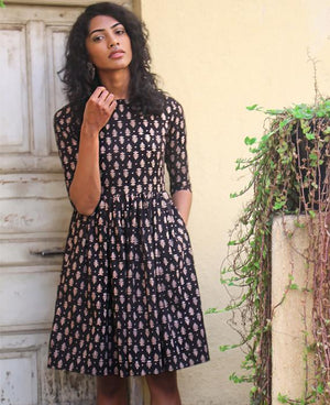 Hand Block Printed Cotton Fit and Flare Dress - Mogra Designs