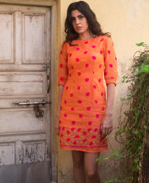 Floral Embroidered Shift Dress in Organdy - Mogra Designs