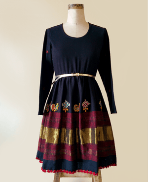 Handwoven and Hand Embroidered Light Wool Dress - Mogra Designs