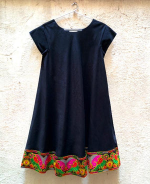 Black Cotton Swing Dress with Embroidered Parrot Border - Mogra Designs