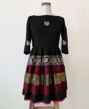 Pleated Handwoven and Hand Embroidered Wool Dress - Mogra Designs