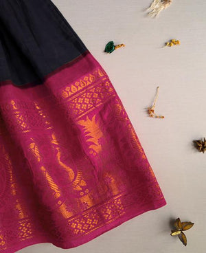 Navy Blue and Fuchsia Pink Fit & Flare Madurai Saree Dress - Mogra Designs