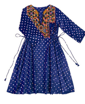 Handcrafted Vintage Mirror Work Drawstring Kaftan in Blue Bandhani - Mogra Designs