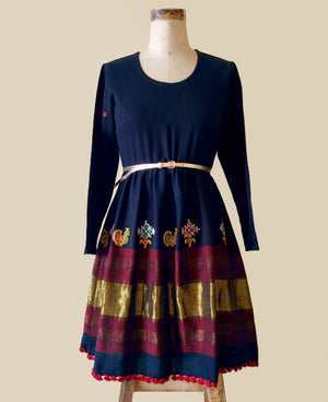 Navy Blue Handwoven and Hand Embroidered Pleated Light Wool Dress - Mogra Designs