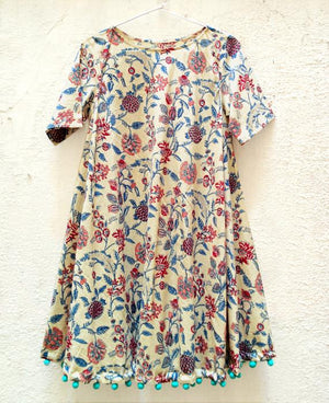 Cream Floral Block Printed Swing Dress with Handmade Pompoms - Mogra Designs