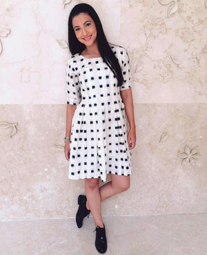 Handwoven Cotton Ikat Pleated Dress in White & Black - Mogra Designs