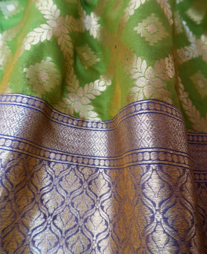 Lime Green & Gold Banarasi Silk Drawstring Kaftan (Medium) - Mogra Designs