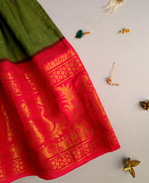 Green and Orange Fit & Flare Madurai Saree Dress - Mogra Designs