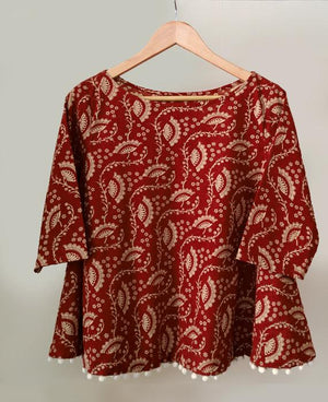 Hand Block Printed Flared Top in Brick Red & Cream - Mogra Designs