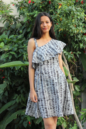 Grey Shibori Frill Dress