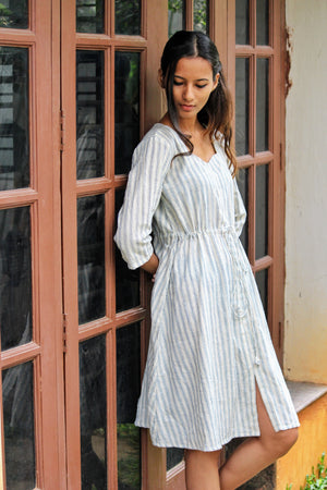Kala Cotton Blue Striped Drawstring Dress