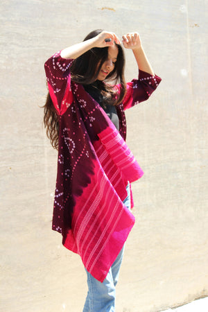 Purple Handwoven and Embroidered Bandhani Tribal Shawl Jacket in Wool