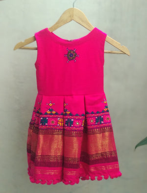 Kids Bright Pink Wool Dress by Mogra Designs