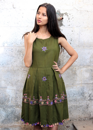 Wool Dress in Leaf Green by Mogra Designs
