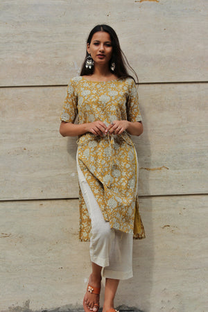 Ochre Dress Over Pants Set