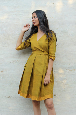 Pista Green Mangalagiri Cotton Pleated Wrap Dress