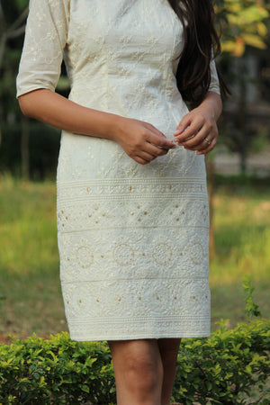 White Embroidered Pencil Dress