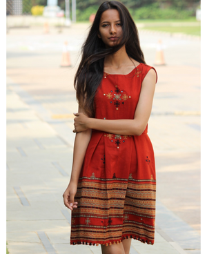 Handwoven and Hand Embroidered Fit & Flare Wool Dress in Rust