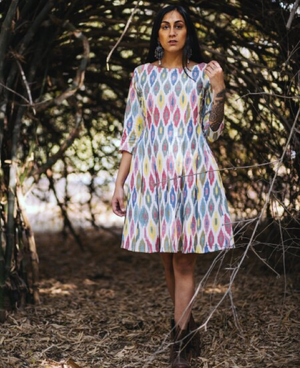 Multi colour Ikat Pleated dress by Mogra Designs