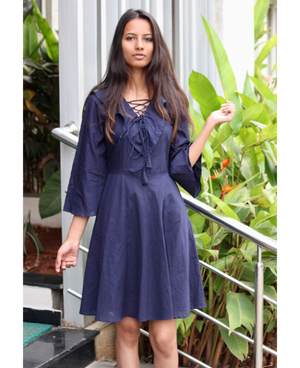 Navy Blue Lace-Up Fit and Flare Dress