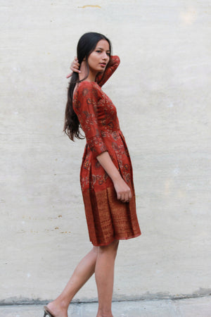 Chanderi Silk Pleated Dress