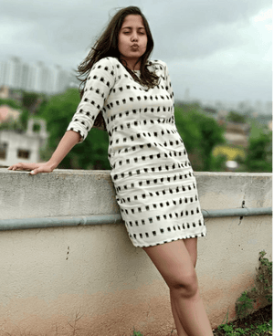 Handwoven Ikat Pencil Dress in White and Black - Mogra Designs