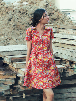 Red Wildflower Shirt Dress