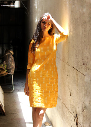 Handwoven Ikat Pencil Dress in Yellow