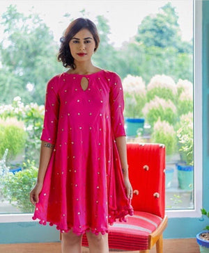 Silk Sequin Embroidered Swing Dress with Handmade Pompoms - Mogra Designs