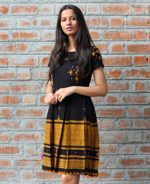 Shibori Dyed and Block Printed Ruffle One Shoulder Striped Dress - Mogra Designs