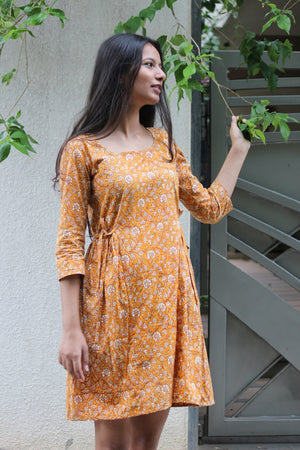 Mustard Hand Block Printed A-line Dress
