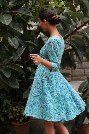 Teal Floral Fit and Flare Dress
