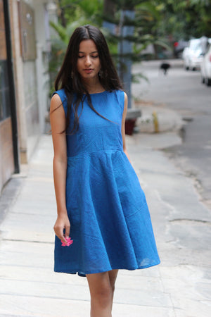 Blue Double Tone Sleeveless Fit and Flare Cotton Dress