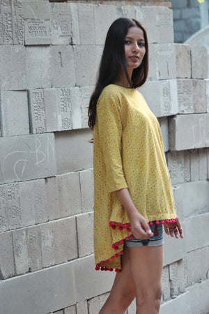 Mustard Ajrakh Swing Top with Handmade Pompoms by Mogra Designs