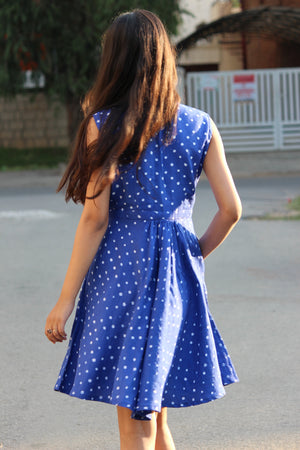Blue Sleeveless Bandhani Dress