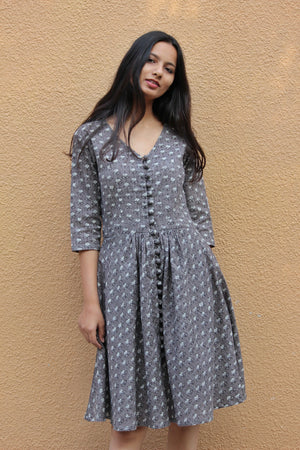 Grey Fit & Flare Dress