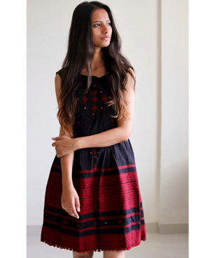 Handwoven and Hand Embroidered Fit & Flare Wool Dress in Black and Maroon by Mogra Designs