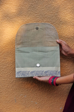 Grey Saree Envelope Clutch By Qurcha