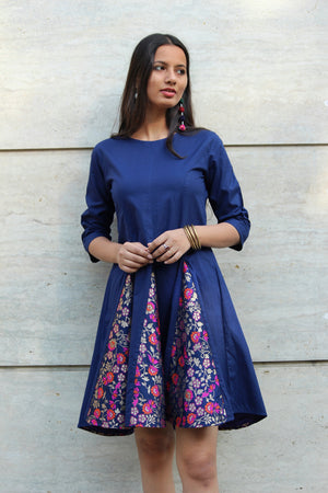Navy Blue Brocade Dress
