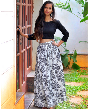 Black and White Floral Hand Block Printed Lehenga Set in Cotton