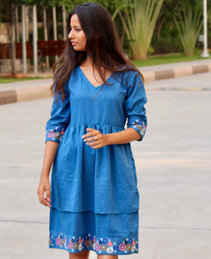 Chalky Blue Layered Hand Embroidered Dress