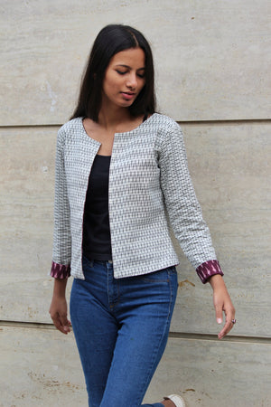 Reversible Ikat Cropped Jacket