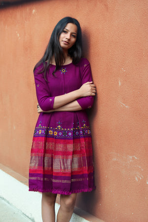 Handwoven and Hand Embroidered Fit & Flare Wool Dress in Magenta