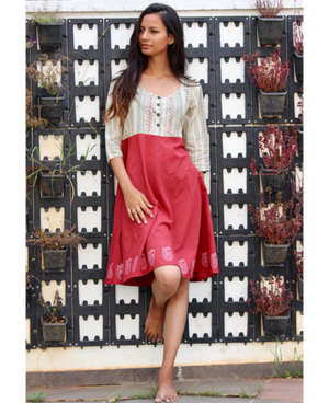 Khadi block printed flared dress by Mogra Designs