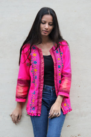 Handwoven and Hand Embroidered Wool Cropped Jacket in Bright Pink