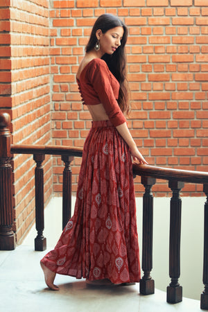 Rosewood Hand Block Printed Lehenga Set in Cotton by Mogra Designs