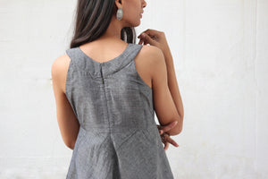 Grey Sleeveless Flared Saree Dress