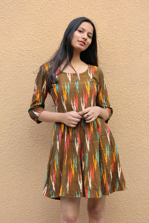 Ochre Ikat Fit and Flare Dress